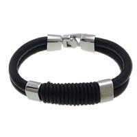 Nylon beschichtet Gummi-Seil Armband, Edelstahl Verschluss, schwarz, 48x14x11mm, 6mm, Länge:ca. 8.5 ZollInch, 5SträngeStrang/Menge, verkauft von Menge