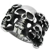 Edelstahl Herren-Fingerring, Schädel, verschiedene Größen vorhanden & Schwärzen, 6.5-17.5mm, 5PCs/Menge, verkauft von Menge