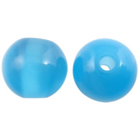 Imitation Cats Eye Resin Perlen, Harz, rund, Imitation Katzen Auge, blau, 10mm, Bohrung:ca. 2mm, 1000PCs/Tasche, verkauft von Tasche