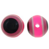 Harz Evil Eye Perlen, rund, Streifen, Rosa, 10mm, Bohrung:ca. 2mm, 1000PCs/Tasche, verkauft von Tasche