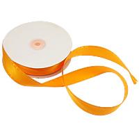 Polyester und Baumwolle Farbband, mit Kunststoffspule & Karton, mit einem Muster von Herzen & einzelseitig, rote Orange, 25mm, Länge:250 HofHof, 5PCs/Menge, 50WerftenHof/PC, verkauft von Menge