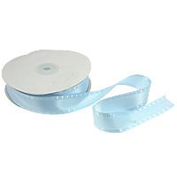 Polyester und Baumwolle Farbband, mit Kunststoffspule & Karton, mit einem Muster von Herzen & einzelseitig, blau, 25mm, Länge:250 HofHof, 5PCs/Menge, 50WerftenHof/PC, verkauft von Menge