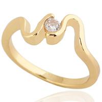 Gets® Finger Ring, Messing, 18 K vergoldet, mit kubischem Zirkonia, frei von Nickel, Blei & Kadmium, 5mm, Größe:5, verkauft von PC