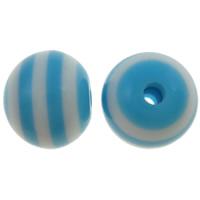 Gestreifte Harz Perlen, rund, Streifen, blau, 12mm, Bohrung:ca. 2mm, 1000PCs/Tasche, verkauft von Tasche