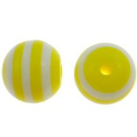 Gestreifte Harz Perlen, rund, Streifen, gelb, 10mm, Bohrung:ca. 2mm, 1000PCs/Tasche, verkauft von Tasche