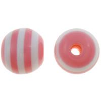 Gestreifte Harz Perlen, rund, Streifen, Rosa, 10mm, Bohrung:ca. 2mm, 1000PCs/Tasche, verkauft von Tasche