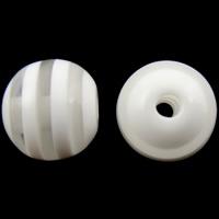 Gestreifte Harz Perlen, rund, Streifen, weiß, 10mm, Bohrung:ca. 2mm, 1000PCs/Tasche, verkauft von Tasche