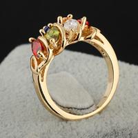 Gets® Finger Ring, Messing, 18 K vergoldet, mit kubischem Zirkonia, frei von Nickel, Blei & Kadmium, 10mm, Größe:7, verkauft von PC
