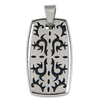 Stainless Steel Pendants, Rectangle, black ionic, 18x33x3mm, Hole:Approx 5mm, Sold By PC