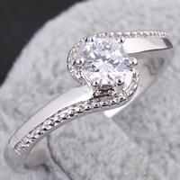 Gets® Finger Ring, Messing, platiniert, mit kubischem Zirkonia, frei von Nickel, Blei & Kadmium, 5mm, Größe:7, verkauft von PC
