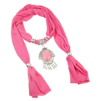 Polyester and Cotton Scarf, with Resin & Copper Coated Plastic & Zinc Alloy, pink, 71x113x10mm, Sold Per 170 cm Strand