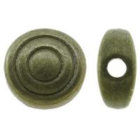 Zinklegierung flache Perlen, flache Runde, antike Bronzefarbe plattiert, frei von Nickel, Blei & Kadmium, 6x6x3mm, Bohrung:ca. 1mm, ca. 2500PCs/kg, verkauft von kg