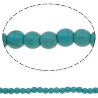 Türkis Perlen, Synthetische Türkis, rund, verschiedene Größen vorhanden, blau, Bohrung:ca. 1-1.5mm, verkauft per ca. 15 ZollInch Strang