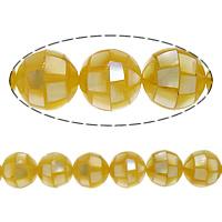 Natürliche gelbe Muschelperlen, rund, Mosaik, 10mm, Bohrung:ca. 1mm, ca. 40PCs/Strang, verkauft per ca. 15.5 ZollInch Strang