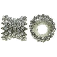 Strass Zinklegierung Perlen, Platinfarbe platiniert, mit Strass, frei von Nickel, Blei & Kadmium, 11x10mm, Bohrung:ca. 4mm, 5PCs/Tasche, verkauft von Tasche
