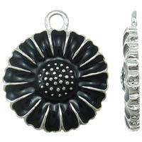 Zinklegierung Blume Anhänger, silberfarben plattiert, Emaille, schwarz, frei von Nickel, Blei & Kadmium, 15x18x2mm, Bohrung:ca. 2mm, 10PCs/Tasche, verkauft von Tasche