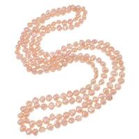 Natürliche Süßwasserperlen Halskette, Natürliche kultivierte Süßwasserperlen, 2 strängig, Rosa, 4-8mm, verkauft per ca. 48.5 ZollInch Strang