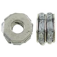 Zink Legierung Europa Perlen, Zinklegierung, mit Glas, Rondell, antik silberfarben plattiert, ohne troll, frei von Nickel, Blei & Kadmium, 11x7mm, Bohrung:ca. 5mm, 10PCs/Tasche, verkauft von Tasche