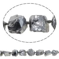 Natürliche Beschichtung Quarz Perlen, Natürlicher Quarz, Klumpen, silberfarben plattiert, 20-27mm, Bohrung:ca. 3mm, Länge:ca. 15.7 ZollInch, 5SträngeStrang/Menge, ca. 16PCs/Strang, verkauft von Menge