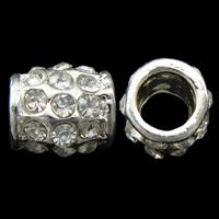 Strass Zinklegierung Perlen, Trommel, silberfarben plattiert, mit Strass, frei von Nickel, Blei & Kadmium, 10x9mm, Bohrung:ca. 5mm, 10PCs/Tasche, verkauft von Tasche