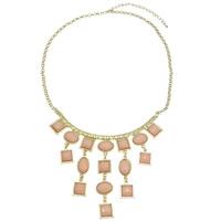 Mode Statement Halskette, Zinklegierung, mit Eisenkette & Harz, goldfarben plattiert, Rolo Kette, frei von Nickel, Blei & Kadmium, 108x115x4.50mm, verkauft per ca. 15 ZollInch Strang