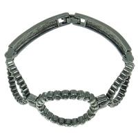 Zinklegierung Armband, metallschwarz plattiert, mit Strass, frei von Nickel, Blei & Kadmium, 27x35x3mm, verkauft per ca. 6.5 ZollInch Strang