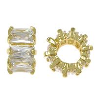 Zirkonia Micro Pave Messing Europa Bead, Rondell, goldfarben plattiert, Micro pave Zirkonia & großes Loch, frei von Nickel, Blei & Kadmium, 6.50x11mm, Bohrung:ca. 6mm, 10PCs/Menge, verkauft von Menge
