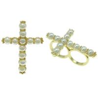 Zinklegierung Doppelring, mit Glasperlen, Kreuz, goldfarben plattiert, frei von Nickel, Blei & Kadmium, 34x47x25mm, Größe:5.5, verkauft von PC