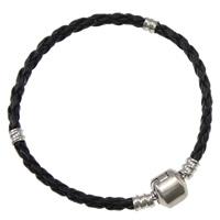 European Armband, Leder, Messing Europa Verschluss, Platinfarbe platiniert, schwarz, frei von Nickel, Blei & Kadmium, 3mm, Länge:ca. 7.5 ZollInch, 10SträngeStrang/Tasche, verkauft von Tasche