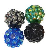 Harz Strass Perlen, rund, gemischte Farben, 10x12mm, Bohrung:ca. 2.5mm, 500PCs/Menge, verkauft von Menge