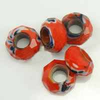 European Kristall Perlen, Millefiori Kristall, Rondell, ohne troll, rot, 14x7mm, Bohrung:ca. 6mm, 50PCs/Strang, verkauft per 14 ZollInch Strang