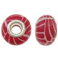 European Polymer Ton Schmuckperlen , Rondell, Platinfarbe platiniert, Messing-Dual-Core ohne troll, rot, frei von Nickel, Blei & Kadmium, 15x11mm, Bohrung:ca. 5mm, 10PCs/Tasche, verkauft von Tasche