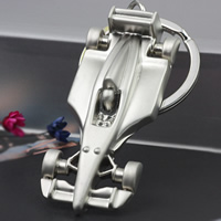 Zinklegierung Schlüsselanhänger, Auto, Platinfarbe platiniert, frei von Nickel, Blei & Kadmium, 55x17x4mm, verkauft von PC
