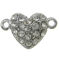 Zinklegierung Magnetverschluss, Herz, Platinfarbe platiniert, mit Strass & Einzelstrang, frei von Nickel, Blei & Kadmium, 17x11x7mm, Bohrung:ca. 1mm, 10PCs/Tasche, verkauft von Tasche
