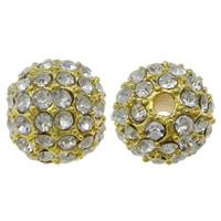Strass Zinklegierung Perlen, rund, goldfarben plattiert, mit Strass, frei von Nickel, Blei & Kadmium, 10mm, Bohrung:ca. 1mm, 10PCs/Tasche, verkauft von Tasche