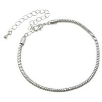 Messing Armband-Cord, mit Verlängerungskettchen von 8cm, Platinfarbe platiniert, Schlangekette, frei von Nickel, Blei & Kadmium, 3mm, Länge:ca. 7 ZollInch, 10SträngeStrang/Tasche, verkauft von Tasche