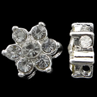 Zinklegierung Blumenperlen, silberfarben plattiert, mit Strass & Doppelloch, frei von Nickel, Blei & Kadmium, 8x9x5mm, Bohrung:ca. 1mm, 10PCs/Tasche, verkauft von Tasche