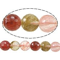 Wassermelone Glasperlen, rund, facettierte, gemischte Farben, 14mm, Bohrung:ca. 1.2-1.4mm, Länge:ca. 15 ZollInch, 5SträngeStrang/Menge, ca. 27PCs/Strang, verkauft von Menge