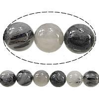 Rutilated Quarz Perle, rund, 12mm, Bohrung:ca. 1.5mm, Länge:ca. 15 ZollInch, 5SträngeStrang/Menge, ca. 31PCs/Strang, verkauft von Menge