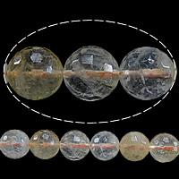Natürlicher Citrin Perlen, Gelbquarz Perlen, rund, November Birthstone & facettierte, 6mm, Bohrung:ca. 1mm, Länge:ca. 15 ZollInch, 5SträngeStrang/Menge, ca. 64PCs/Strang, verkauft von Menge