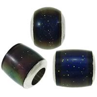 Emaille-Stimmung-Perlen, Messing, Platinfarbe platiniert, Emaille Stimmung, frei von Nickel, Blei & Kadmium, 5.5x6mm-7.5x8mm, Bohrung:ca. 3-4mm, 100PCs/Tasche, verkauft von Tasche