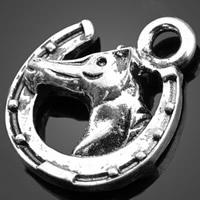 Zinklegierung Tier Anhänger, Pferd, antik silberfarben plattiert, frei von Nickel, Blei & Kadmium, 14x15.70mm, Bohrung:ca. 1-3mm, 1000PCs/Tasche, verkauft von Tasche