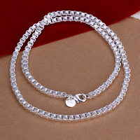 comeon® Schmuck Halskette, Messing, versilbert, Kastenkette, frei von Nickel, Blei & Kadmium, 4mm, verkauft per ca. 20 ZollInch Strang