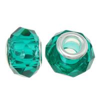 European Kristall Perlen, Rondell, Sterling Silber-Dual-Core ohne troll, pfauenblau, 14x9mm, Bohrung:ca. 5mm, 20PCs/Tasche, verkauft von Tasche