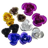 Aluminium-Lackschnitzerei, Aluminium, Blume, Spritzlackierung, gemischte Farben, frei von Nickel, Blei & Kadmium, 6-12mm, Bohrung:ca. 1mm, 100PCs/Tasche, verkauft von Tasche