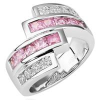 comeon® Finger-Ring, Messing, platiniert, mit kubischem Zirkonia, frei von Nickel, Blei & Kadmium, 18x22mm, Größe:8, verkauft von PC