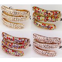 comeon® Finger-Ring, Zinklegierung, plattiert, mit Strass, keine, frei von Nickel, Blei & Kadmium, 17x22mm, Größe:8, verkauft von PC