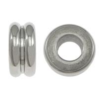 Edelstahl-Perlen mit großem Loch, Edelstahl, Rondell, Weitere Größen für Wahl & großes Loch, originale Farbe, 100PCs/Menge, verkauft von Menge