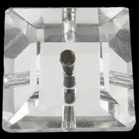 Mode Glasperlen, Glas, Quadrat, silberfarben plattiert, imitierter Strass & verschiedene Größen vorhanden & facettierte, Bohrung:ca. 0.5-1mm, 100PCs/Tasche, verkauft von Tasche