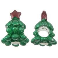 Europa Beads Weihnachten, Zinklegierung, Weihnachtsbaum, Spritzlackierung, ohne troll, grün, frei von Nickel, Blei & Kadmium, 11x15.50x11mm, Bohrung:ca. 5mm, 10PCs/Tasche, verkauft von Tasche
